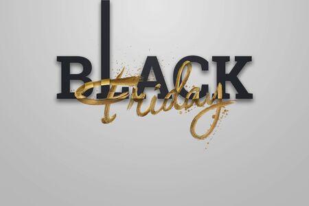 Black friday sale inscription golden letters on a light background, design template. Black friday banner. Copy space, creative background, gold. 3D Illustration, 3D Design