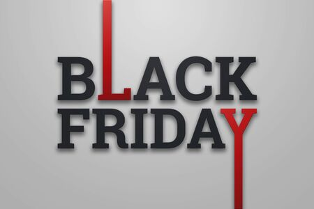 Black friday sale inscription on a light background, design template. Black friday banner. Copy space, creative background. 3D Illustration, 3D Design