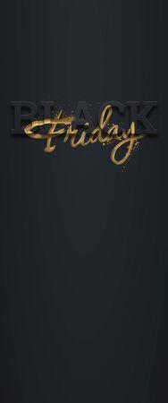 Black friday sale inscription golden letters on a dark background, vertical banner, design template. Copy space, creative background. 3D illustration, 3D design 写真素材