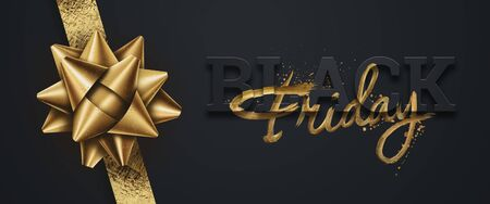 Black friday sale inscription gold letters on a black background, horizontal banner, design template. Copy space, creative background. 3D illustration, 3D design 写真素材