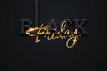 Black friday sale inscription golden letters on a dark background, design template. Black friday banner. Copy space, creative background, gold. 3D Illustration, 3D Design 스톡 콘텐츠