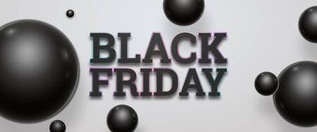 Black friday sale inscription on a light background, horizontal banner, design template. Copy space, creative background. 3D illustration, 3D design.