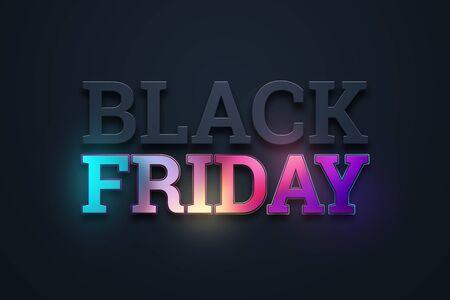 Black friday sale inscription, neon on a dark background, design template. Black friday banner. Copy space, creative background. 3D Illustration, 3D Design
