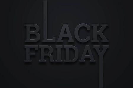 Black friday sale inscription on dark background, design template. Black friday banner. Copy space, creative background. 3D Illustration, 3D Design