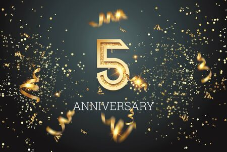 Golden numbers, 5 years anniversary celebration on dark background and confetti. celebration template, flyer. 3D illustration, 3D rendering.