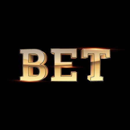 Gold Lettering Bet on a dark background. Bets, sports betting, watch sports and bet. 3D design, 3D illustration