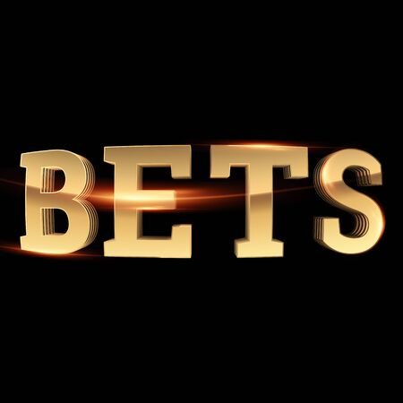 Gold Lettering Bets on a dark background. Bets, sports betting, watch sports and bet. 3D design, 3D illustration.