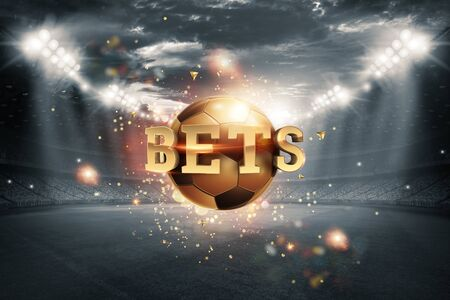 Gold Lettering Bets with golden ball and stadium background. Bets, sports betting, watch sports and bet 写真素材
