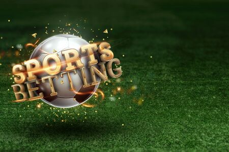 Gold Lettering Sports Betting on the background of a soccer ball and green lawn. Bets, sports betting, watch sports and bet 写真素材