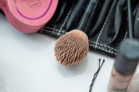 makeup tools, details. Makeup preparation composition. Reklamní fotografie