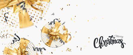 Merry Christmas gold Creative design on a white background. Black-gold design. Brochure design template, card, banner. 3D illustration, 3D Render