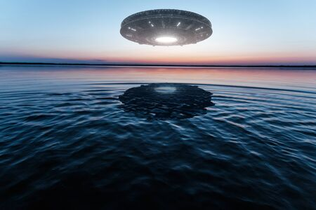 UFO, an alien plate hovering above water, hovering motionless in the air. Unidentified flying object, alien invasion, extraterrestrial life, space travel, humanoid spaceship mixed medium
