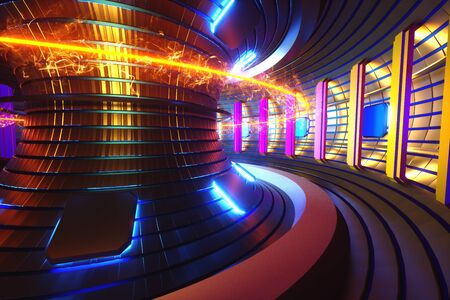 3D Render fusion reactor nuclear fusion, tokamak inside heated plasma, toroidal shape, clean energy. Copy space.