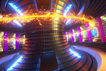 3D Render fusion reactor nuclear fusion, tokamak inside heated plasma, toroidal shape, clean energy. Copy space.
