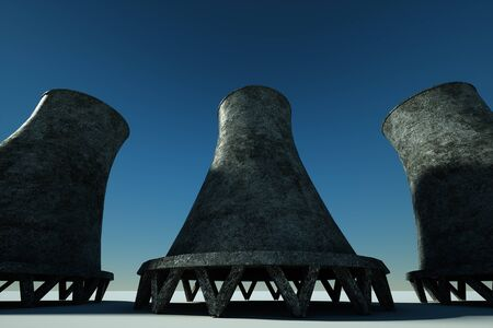 3D render Nuclear power plant against the background of nature, cooling tower towers nuclear fusion clean energy. Copy space