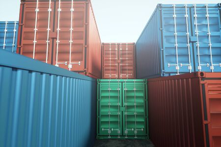 Sea containers against the blue sky, industrial port with containers. Logistics concept, fast delivery. mixed media, copy space