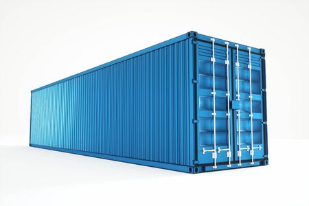 Blue sea container isolated on white background. The concept of logistics, delivery, online store, production. 3D rendering, 3D visualization, 3D illustration