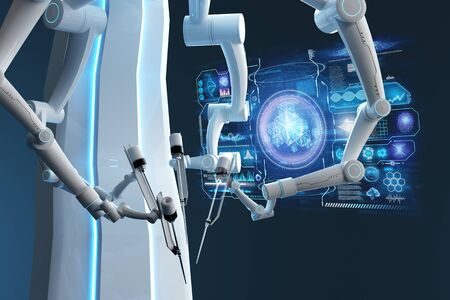 Robot surgeon, robotic equipment. Minimally invasive surgical innovation with three-dimensional overview. technology, the future of medicine, surgeon. 3D render, 3D illustration