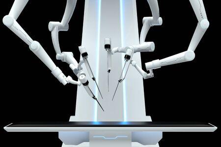 Robot surgeon, robotic equipment, manipulators isolated on a dark background. Technologies, future of medicine, surgery. 3D render, 3D illustration Reklamní fotografie