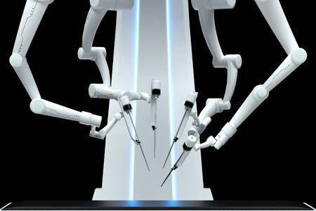 Robot surgeon, robotic equipment, manipulators isolated on a dark background. Technologies, future of medicine, surgery. 3D render, 3D illustration