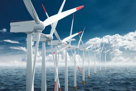 Windmills at sea clean energy, alternative energy, wind energy. Technology concept, renewable energy. Mixed media copy space. Stock Photo