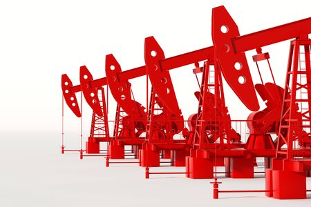 Red oil pump on a white background, oil rig industrial oil production, oil prices. Technology concept, fossil energy sources, hydrocarbons. copy space, 3D illustration, 3D render