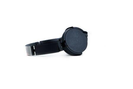 Black headphones big isolated on white background, copy space Archivio Fotografico