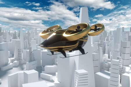 Flying car on a city background, urban electric transport drone. Car with propellers, clean air, fast ride. Mixed media, copy space Stock Photo