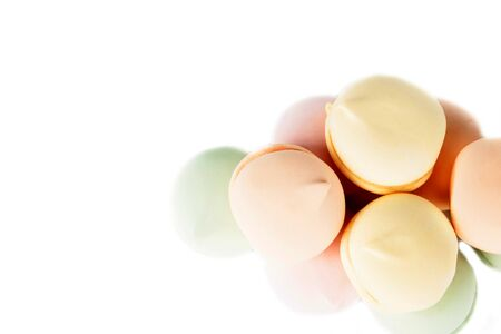 multicolored marshmallows isolated on a white background.Beautiful colorful and delicious sweets and marshmallows. . Closeup. Soft selective focus.