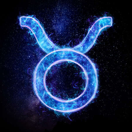 Taurus zodiac sign icon, blue neon hologram on a dark background of the starry sky, horoscope signs. The concept of fate, predictions, fortune teller. 3D graphics, 3D illustration 스톡 콘텐츠