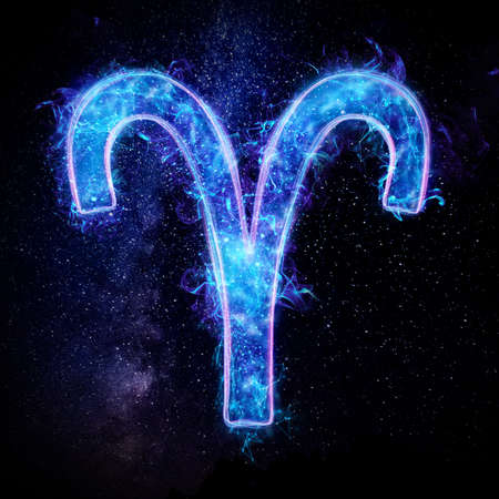 Aries zodiac sign icon, blue neon hologram on a dark background of the starry sky, horoscope signs. The concept of fate, predictions, fortune teller. 3D graphics, 3D illustration