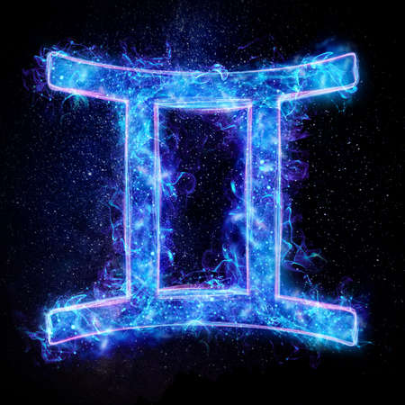 Gemini zodiac sign icon, blue neon hologram on a dark background of the starry sky, horoscope signs. The concept of fate, predictions, fortune teller. 3D graphics, 3D illustration