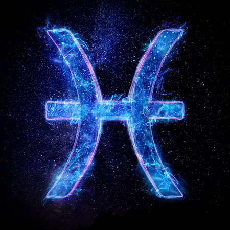 Zodiac sign icon Pisces, blue neon hologram on a dark background of the starry sky, horoscope signs. The concept of fate, predictions, fortune teller. 3D graphics, 3D illustration