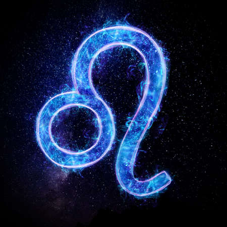 Leo zodiac sign icon, blue neon hologram on a dark background of the starry sky, horoscope signs. The concept of fate, predictions, fortune teller. 3D graphics, 3D illustration