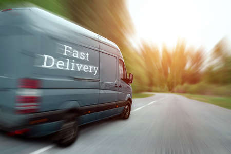 Fast delivery, minibus, car. Copy space