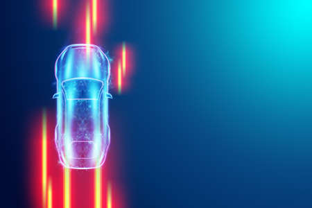 Car hologram light lines, automatically detects road and obstacles, scans the road. Transport technologies. Copy space. 3D illustration, 3D render