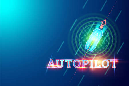 Autopilot inscription, car top view automatically detects the road and obstacles, scans the road, manages independently. 3D illustration, 3D render. Hologram, copy space