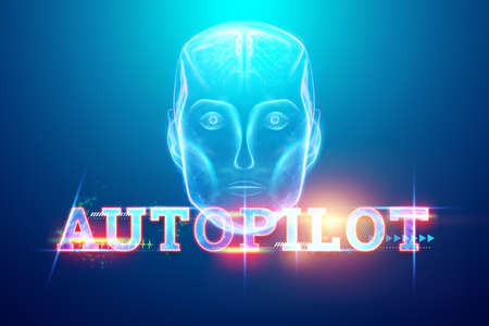 Inscription Autopilot, hologram image of artificial intelligence, Scans the road, manages independently, transport technologies. 3D illustration, 3D render. Copy space