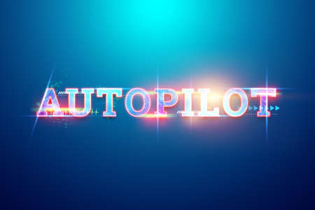Inscription Autopilot hologram, transport technology. 3D illustration, 3D render. Copy space