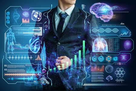 Businessman in suit image of development strategy charts, business concept. New technologies. Copy space