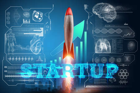 The inscription start-up, the rocket taking off on the background image of the development strategy charts, business concept, new technologies. Copy space
