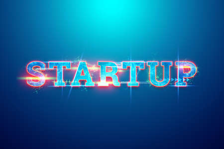 Lettering start-up hologram, development strategy, business concept, new technologies. 3D illustration, 3D render. Copy space