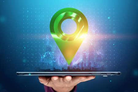 Close-up hand holding tablet, smartphone navigation, route. Destination, delivery Zdjęcie Seryjne