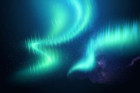 Realistic northern lights against the background of the starry sky. Beautiful natural effect. 3D illustration. 스톡 콘텐츠