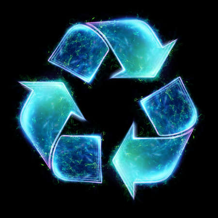 Sign Recycling hologram on a dark background. Eco recycling green symbol. The concept of clean land, garbage disposal. 3D illustration, 3D render