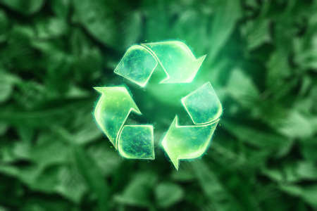 Sign Recycling hologram on a green background. Eco recycling green symbol. The concept of clean land, garbage disposal