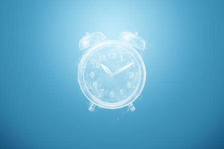 Time management concept, hologram alarm clock image. Business, clockwork, the passage of time. 3D illustration, 3D render. Copy space