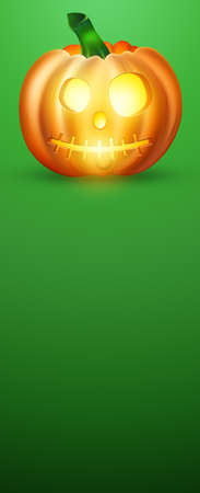 Happy Halloween Banner. Realistic Image of an Orange Pumpkin. Scary Jack. Vertical flyer, header for website. Copy space, 3D illustration, 3D render Stock fotó