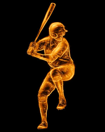 Silhouette image of a baseball player with a bat isolated on a black background. Online sports concept, betting, American game. 3D illustration, 3D render