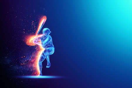 Silhouette, image of a baseball player with a bat on fire, blue hologram on a dark background. Sports concept, betting, American game. 3D illustration, 3D render